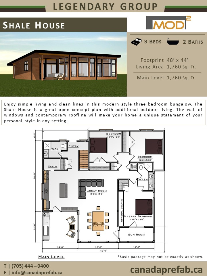Modern home plans modern prefab home designs for Open concept bungalow floor plans